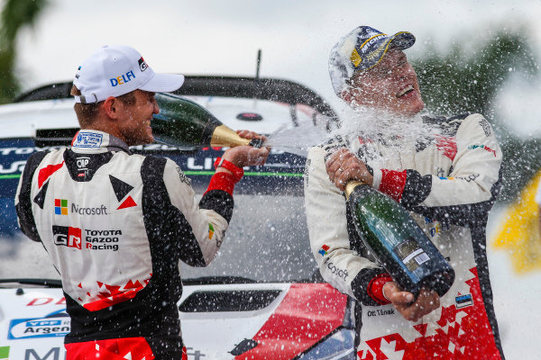Ott Tanak and Martin Jarveoja celebrate victory on Rally Argentina
