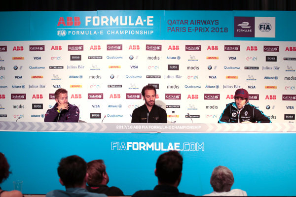 Sam Bird (GBR), DS Virgin Racing, DS Virgin DSV-03, Jean-Eric Vergne (FRA), TECHEETAH, Renault Z.E. 17, and Nicolas Prost (FRA), Renault e.Dams, Renault Z.E 17, in the Friday press conference.