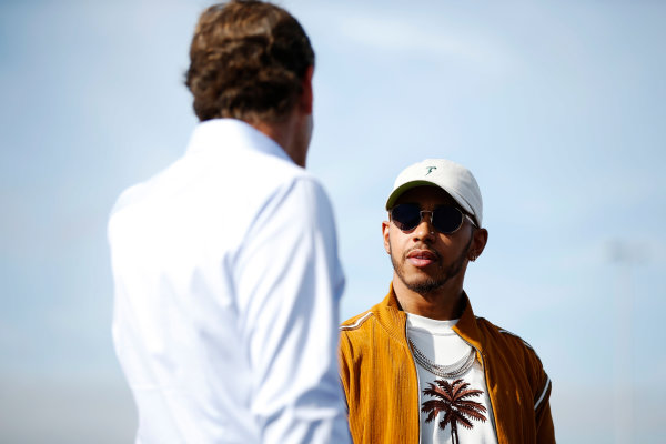 Circuit of the Americas, Austin, Texas, United States of America. Thursday 19 October 2017. Lewis Hamilton, Mercedes AMG, opens the kart track with Bobby Epstein, COTA chairman. World Copyright: Zak Mauger/LAT Images  ref: Digital Image _X0W3358