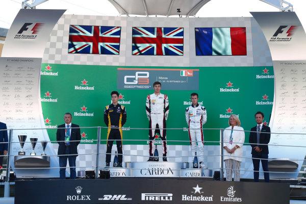 2017 GP3 Series Round 6.  Autodromo Nazionale di Monza, Monza, Italy. Sunday 3 September 2017. Jack Aitken (GBR, ART Grand Prix), George Russell (GBR, ART Grand Prix), Anthoine Hubert (FRA, ART Grand Prix).  Photo: Sam Bloxham/GP3 Series Media Service. ref: Digital Image _J6I4660