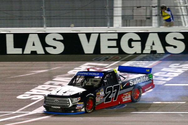 NASCAR Camping World Truck Series Las Vegas 350 Las Vegas Motor Speedway, Las Vegas, NV USA Saturday 30 September 2017 Ben Rhodes, Safelite Auto Glass Toyota Tundra celebrates his win with a burnout  World Copyright: Russell LaBounty LAT Images