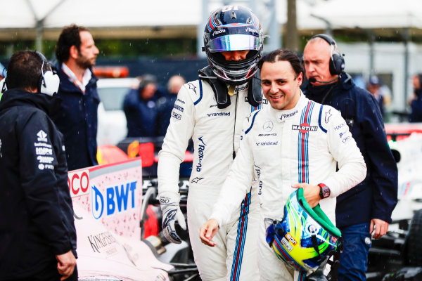 Autodromo Nazionale di Monza, Italy. Saturday 02 September 2017. Lance Stroll, Williams Martini Racing, and Felipe Massa, Williams Martini Racing, in Parc Ferme after Qualifying. World Copyright: Zak Mauger/LAT Images  ref: Digital Image _56I7617