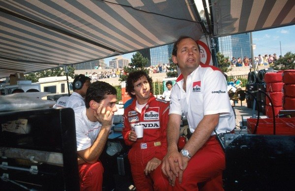L-R Ayrton Senna (BRA) McLaren, Alain Prost (FRA) McLaren and Ron Dennis (GBR) Mclaren Chief Executive.