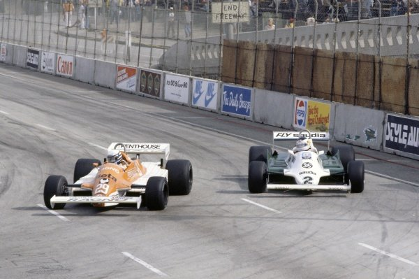 1981 United States Grand Prix West.Long Beach, California, USA. 13-15 March 1981.Riccardo Patrese (#29 Arrows A3-Ford Cosworth) leads Carlos Reutemann (Williams FW07C-Ford Cosworth). Reutemann finished in 2nd position.World Copyright: LAT PhotographicRef: 35mm transparency 81LB33