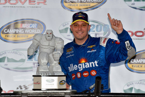 NASCAR Camping World Truck Series Bar Harbor 200 Dover International Speedway, Dover, DE USA Friday 2 June 2017 Johnny Sauter, Allegiant Airlines Chevrolet Silverado celebrates his win in Victory Lane World Copyright: Nigel Kinrade LAT Images ref: Digital Image 17DOV1nk06917