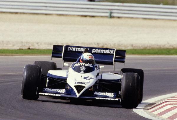 1984 Portuguese Grand Prix.Estoril, Portugal.19-21 October 1984.Manfred Winkelhock (Brabham BT53 BMW) 10th position.Ref-84 POR 38.World Copyright - LAT Photographic