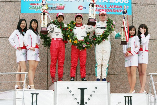 2008 Japanese F3 ChampionshipRound 4 - Autopolis, Japan. 26th - 27th April 2008Podium - Race winner Keisuke Kunimoto (1st position), Takuto Iguchi (2nd position) and Carlo van Dam (3rd position).World Copyright: Masahide Kamio / LAT Photographicref: Digital image 2008JF3_R3&4_009