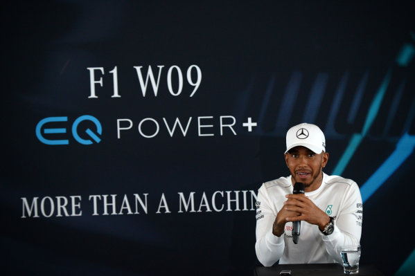 Mercedes-AMG F1 W09 EQ Power+ Launch and First Run Silverstone, England, 22 February 2018. Lewis Hamilton (GBR) Mercedes-AMG F1 at Mercedes-AMG F1 W09 EQ Power. World Copyright: Simon Galloway/Sutton Images/LAT Images Photo ref: SUT_Mercedes_AMG_F_1567652