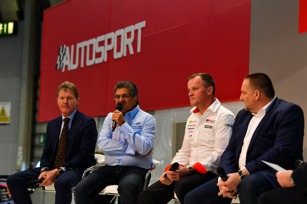 Autosport International Exhibition. National Exhibition Centre, Birmingham, UK. Thursday 11th January 2018. Malcolm Wilson, Michel Nandan, Tommi Makinen and Yves Matton talk to Henry Hope-Frost on the Autosport Stage. World Copyright: Mark Sutton/Sutton Images/LAT Images Ref: DSC_6604