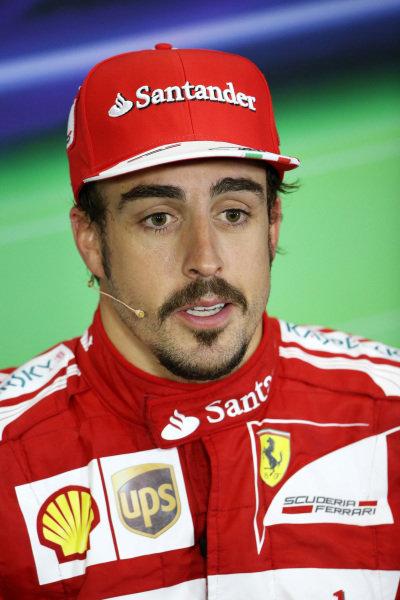 Fernando Alonso (ESP) Ferrari, third, in the post-race Press Conference. Formula One World Championship, Rd8, British Grand Prix, Race Day, Silverstone, England, Sunday 30 June 2013.