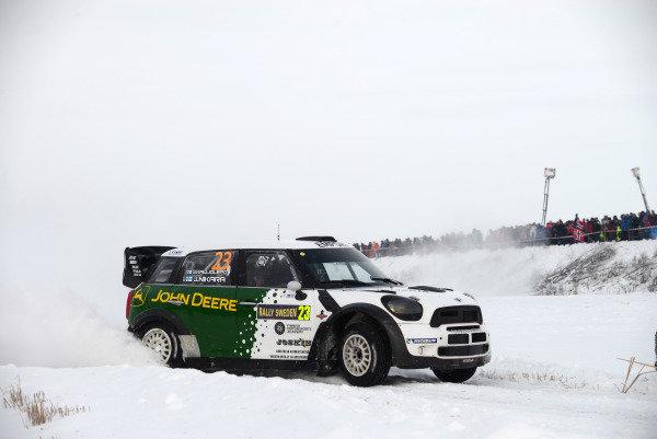 Jarkko Nikara (FIN) and Jarkko Kalliolepo (FIN), Mini JCW WRC on stage 20. FIA World Rally Championship, Rd2, Rally Sweden, Karlstad, Sweden, Day Three, Sunday 10 February 2013.