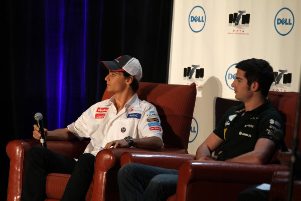 (L to R): Esteban Gutierrez (MEX) Sauber Third Driver and Alexander Rossi (USA) Caterham Young Driver. FOTA Fans Forum, Hilton Hotel, Austin, Texas, USA, 14 November 2012.