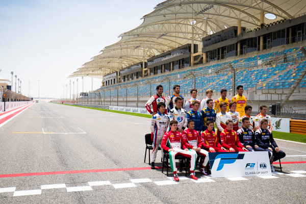 2017 FIA Formula 2 Round 1. Bahrain International Circuit, Sakhir, Bahrain.  Thursday 13 April 2017. Class photo on the grid. Photo: Sam Bloxham/FIA Formula 2. ref: Digital Image _J6I8300