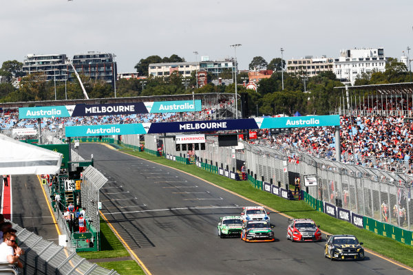 Australian Supercars Series Albert Park, Melbourne, Australia. Sunday 26 March 2017. Race 4. Taz Douglas, No.3 Holden Commodore VF, Lucas Dumbrell Motorsport, leads Simone de Silvestro, No.78 Nissan Altima, Nissan Motorsport and Team Harvey Norman, Alex Rullo, No.62 Holden Commodore VF, Lucas Dumbrell Motorsport, Mark Winterbottom, No.5 Ford Falcon FG-X, The Bottle-O Racing Team and Monster Energy Racing, and Tim Slade, No.14 Holden Commodore VF, Brad Jones Racing. World Copyright: Zak Mauger/LAT Images ref: Digital Image _56I0251