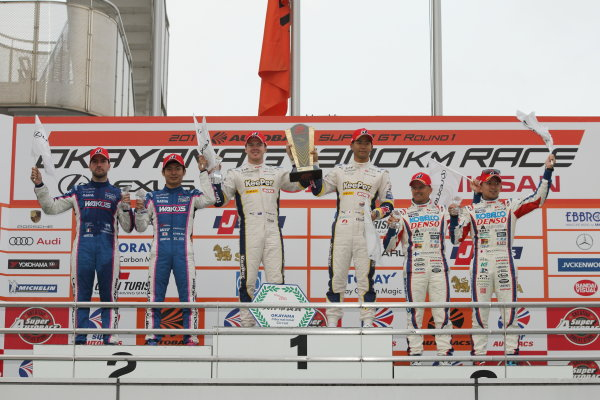 2017 Japanese Super GT Series. Okayama, Japan. 8th - 9th April 2017. Rd 1. GT500 Winner Ryo Hirakawa & Nick Cassidy ( #37 KeePer TOM'S LC500 ) 2nd position Kazuya Oshima & Andrea Caldarelli ( #6 WAKO'S 4CR LC500 ) 3rd position Heikki Kovalainen & Kohei Hirate ( #1 DENSO KOBELCO SARD LC500 ) podium, portrait World Copyright: Yasushi Ishihara / LAT Images. Ref: 2017SGT_Rd1_006