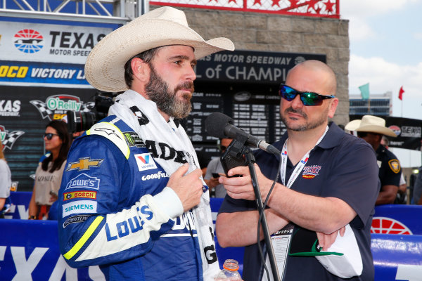 2017 Monster Energy NASCAR Cup Series O'Reilly Auto Parts 500 Texas Motor Speedway, Fort Worth, TX USA Sunday 9 April 2017 Jimmie Johnson celebrates in victory lane  World Copyright: Russell LaBounty/LAT Images ref: Digital Image 17TEX1rl_5294