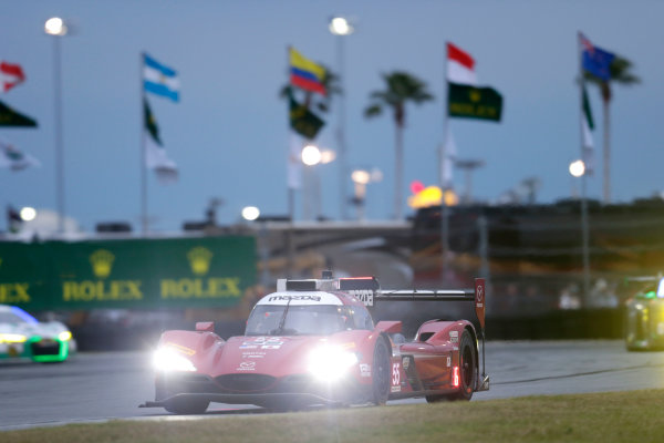 2017 Rolex 24 Hours. Daytona, Florida, USA Saturday 28 January 2017. #55 Mazda Motorsports Mazda DPi: Jonathan Bomarito, Tristan Nunez, Spencer Pigot World Copyright: Alexander Trienitz/LAT Images ref: Digital Image 2017-24h-Daytona-AT1-3406