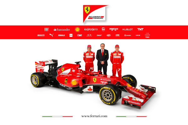 Ferrari F14 T Online Launch Images 25 January 2014 Fernando Alonso, Stefano Domenicali & Kimi Raikkonen Photo: Ferrari (Copyright Free FOR EDITORIAL USE ONLY) ref: Digital Image 140009eve