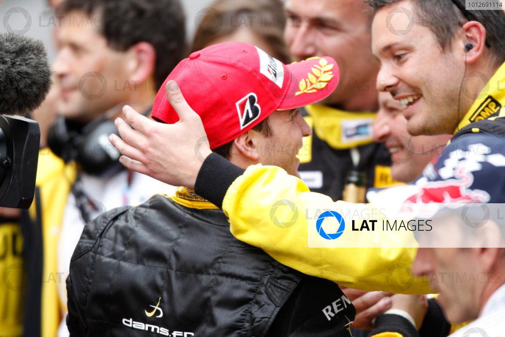 Monte Carlo, Monaco. 15th May 2010. Saturday Race.Jerome D'Ambrosio (BEL, Dams) celebrates his victory. Photo: Andrew Ferraro/GP2 Media Service.Ref: _Q0C7618 jpg