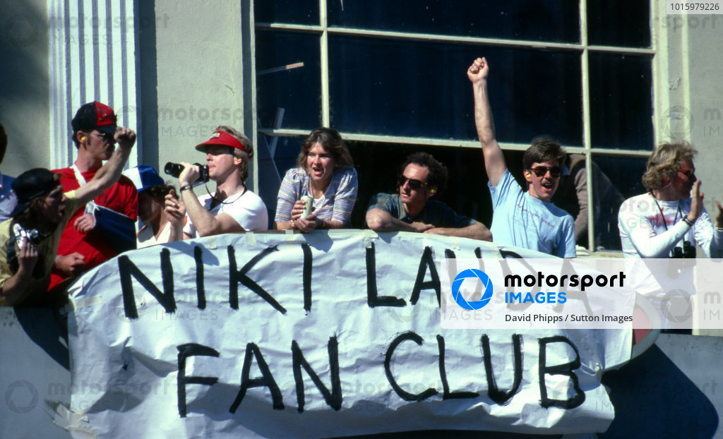 Members of the Niki Lauda Fan Club were rewarded with a victory for their hero. Formula One World Championship, Rd3, United States Grand Prix West, Long Beach, USA, 4 April 1982. BEST IMAGE