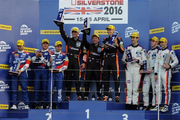 2016 European LeMans Series, Silverstone, 15th-16th April 2016, LMP2 Podium DOLAN / TINCKNELL / VAN DER GARDE Gibson 015S - Nissan win World copyright. Jakob Ebrey/LAT Photographic