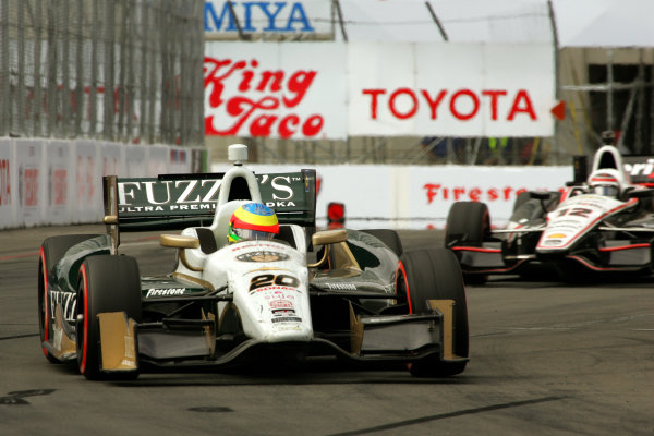 11-13 April, 2014, Long Beach, California USA Mike Conway leads Will Power into turn 10 on the last lap of the race.  ©2014, Leland Hill LAT Photo USA