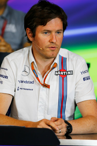 Red Bull Ring, Spielberg, Austria. Friday 01 July 2016. Rob Smedley, Head of Vehicle Performance, Williams Martini Racing, in the team principals Press Conference. World Copyright: Andy Hone/LAT Photographic ref: Digital Image _ONZ5082
