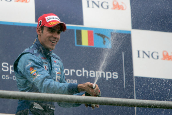 Spa Francorchamps, Spa, Belgium. 7th September.Sunday Race.Pastor Maldonado (VEN, Piquet Sports) celebrates his victory on the podium. World Copyright: Alastair Staley/GP2 Series Media Service. ref: Digital Image _MG_3402