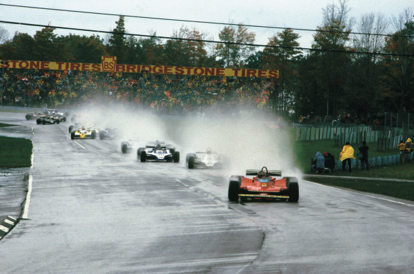 Watkins Glen, New York State, USA. 5 - 7 October 1979. Gilles Villeneuve (Ferrari 312T4) 1st position, leads the field at the start, action. World Copyright: LAT Photographic. Ref:  79USA01.