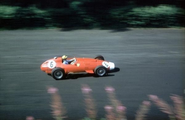 1957 German Grand Prix.Nurburgring, Germany.2-4 August 1957.Luigi Musso (Lancia-Ferrari D50 801) 4th position.Ref-57 GER 16.World Copyright - LAT Photographic