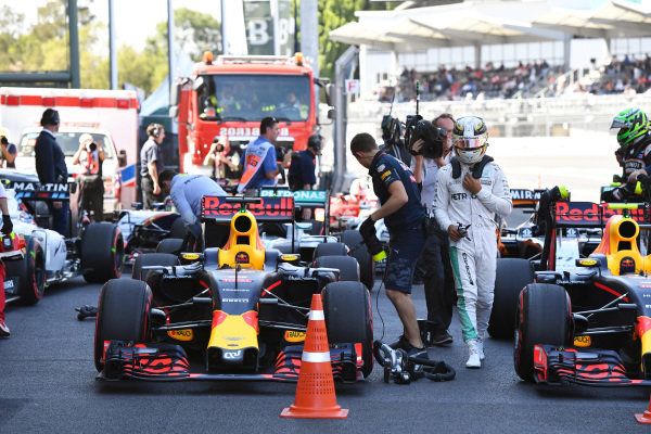 Red Bull Racing RB12 in parc ferme at Formula One World Championship, Rd19, Mexican Grand Prix, Qualifying, Circuit Hermanos Rodriguez, Mexico City, Mexico, Saturday 29 October 2016.