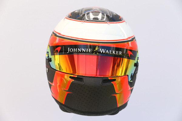 The helmet of Stoffel Vandoorne (BEL) McLaren at Formula One World Championship, Rd1, Australian Grand Prix, Preparations, Albert Park, Melbourne, Australia, Thursday 23 March 2017.