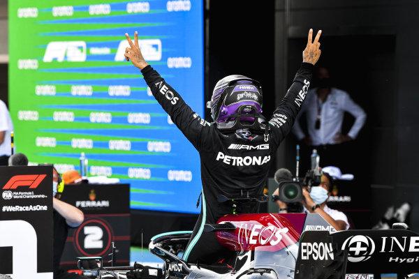 Sir Lewis Hamilton, Mercedes, 1st position, celebrates on arrival in Parc Ferme