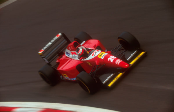 1993 Italian Grand Prix.Monza, Italy.10-12 September 1993.Gerhard Berger (Ferrari F93A). He exited the race with damaged suspension.Ref-93 ITA 03.World Copyright - LAT Photographic
