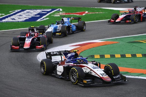Guilherme Samaia (BRA, Charouz Racing System), leads Marino Sato (JPN, Trident), and Richard Verschoor (NLD, MP Motorsport)