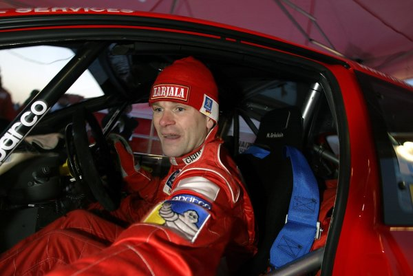 2003 FIA World Rally Championship. Karlstad, Sweden. Rd2.6-9 February 2003.Marcus Gronholm (Peugeot) 1st position. World Copyright: McKlein/LAT Photographic