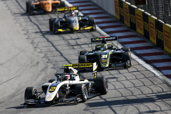 SOCHI AUTODROM, RUSSIAN FEDERATION - SEPTEMBER 29: Max Fewtrell (GBR, ART Grand Prix) and Logan Sargeant (USA, Carlin Buzz Racing) during the Sochi at Sochi Autodrom on September 29, 2019 in Sochi Autodrom, Russian Federation. (Photo by Joe Portlock / LAT Images / FIA F3 Championship)