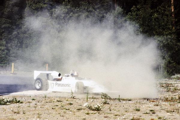 Jo Gartner, March Merzario 282 (822) BMW, in the gravel.