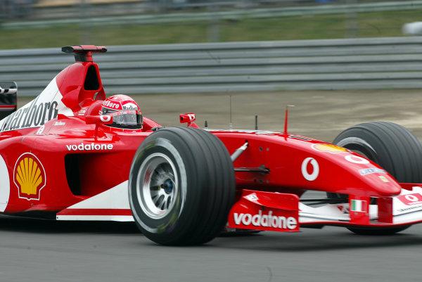 2002 European Grand Prix - Friday PracticeNurburgring, Germany. 21st June 2002.Michael Schumacher (Ferrari F2002).World Copyright: LAT Photographic.ref: Digital Image Only