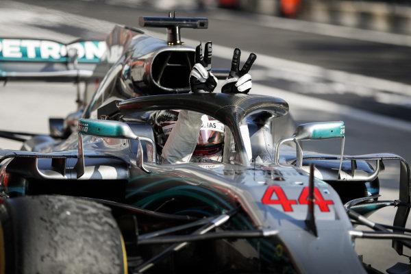 Lewis Hamilton, Mercedes AMG F1 W09 celebrates in Parc Ferme.