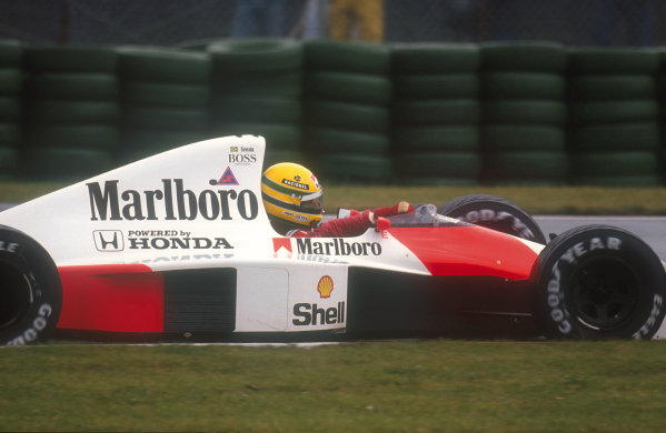 1990 Canadian Grand Prix.Montreal, Canada.8-10 June 1990.Ayrton Senna (McLaren MP4/5B Honda) 1st position.Ref-90 CAN 11.World Copyright - LAT Photographic