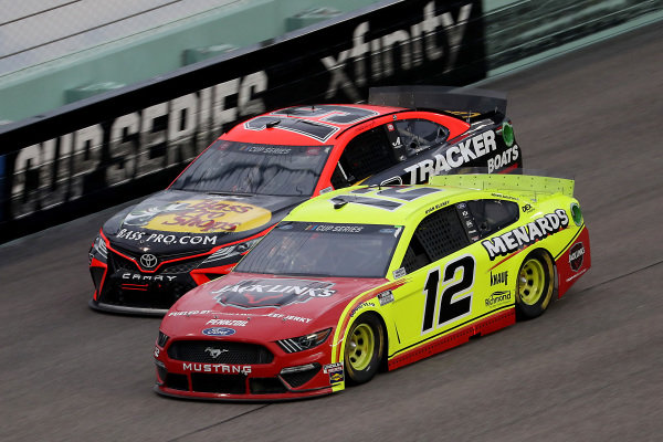 Ryan Blaney, Team Penske Ford Menards/Jack Links, Martin Truex Jr., Joe Gibbs Racing Toyota, Copyright: Chris Graythen/Getty Images.