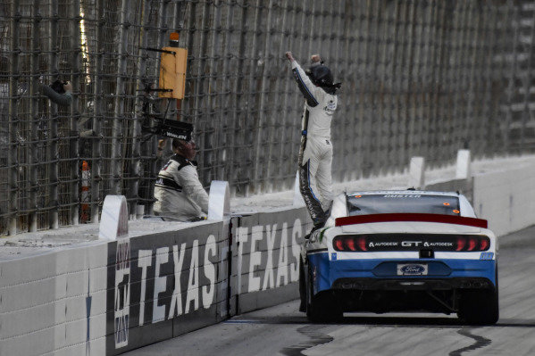 #00: Cole Custer, Stewart-Haas Racing, Ford Mustang Autodesk, celebrates after winning.