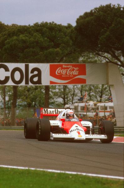 Imola, Italy.25-27 April 1986.Alain Prost (McLaren MP4/2C TAG Porsche) 1st position.Ref-86 SM 11.World Copyright - LAT Photographic