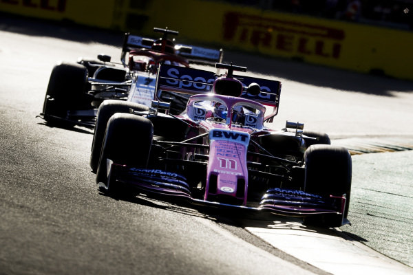Sergio Perez, Racing Point RP19, leads Kimi Raikkonen, Alfa Romeo Racing C38