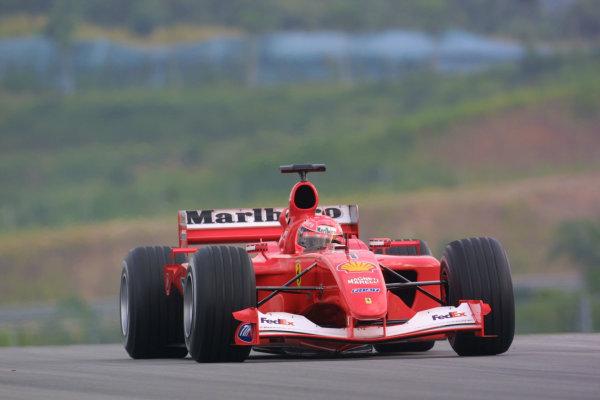 2001 Malaysian Grand Prix. Sepang, Kuala Lumpur, Malaysia.  16-18 March 2001. Michael Schumacher (Ferrari F2001) 1st position. World Copyright - LAT Photographic ref: 8.9MB DIGITAL IMAGE
