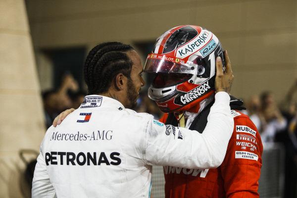 Lewis Hamilton, Mercedes AMG F1 and Charles Leclerc, Ferrari in parc ferme