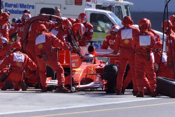 Rubens Barrichello(BRA) Ferrari F1 2001 United States Grand Prix, Indianapolis 30 September 2001. DIGITAL IMAGE