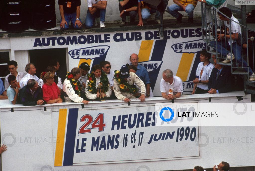 Le Mans, France. 20th - 21st June 1990. Price Cobb/Martin Brundle/John Neilsen (Jaguar XJR12), 1st position, podium. World Copyright: LAT Photographic. Ref: 90LM20.