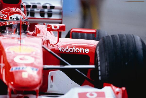 2002 Hungarian Grand Prix.Hungaroring, Budapest, Hungary. 16-18 August 2002.Michael Schumacher (Ferrari F2002) 2nd position.Ref-02 HUN 11.World Copyright - Bellanca/LAT Photographic